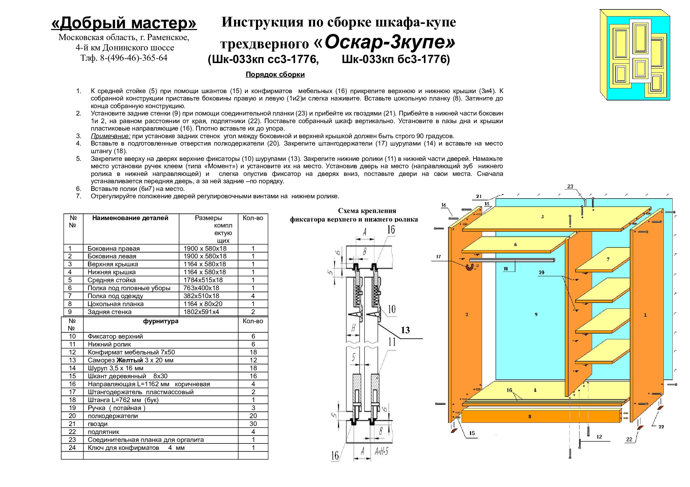 схема сборки стенки оскар